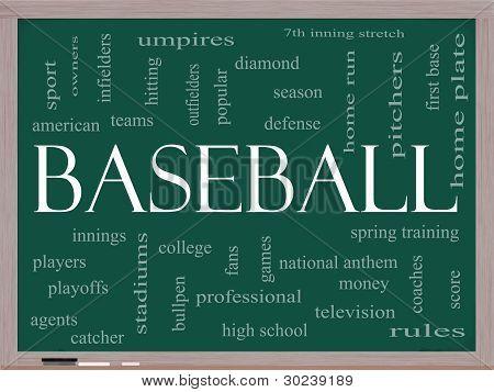 Baseball Word Cloud Concept On A Blackboard