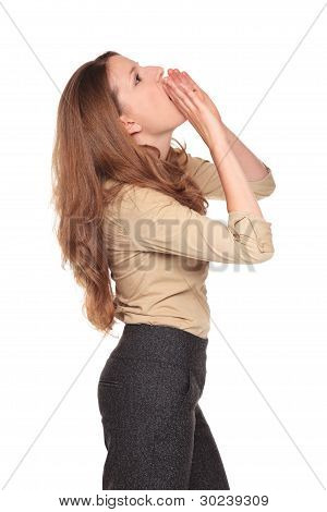 Businesswoman - Yelling Hand Megaphone