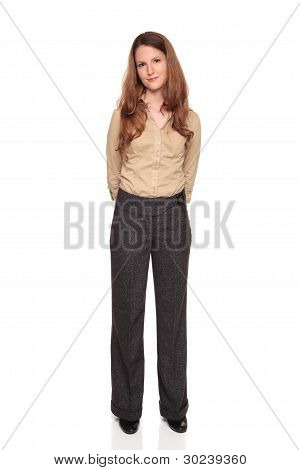 Smiling Businesswoman - Front View Full Length