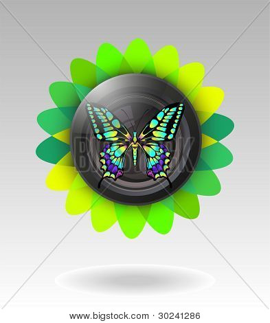 Lens With Butterfly. Vector Illustration