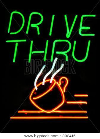 Drive-thru Neon Sign With Coffee Cup