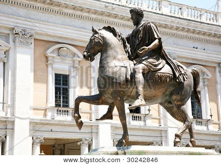 The Equestrian Statue Of Marcus Aurelius In Rome, Italy