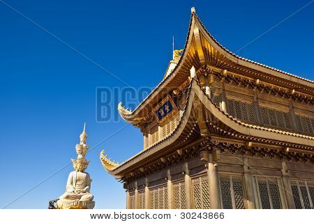 Mount Emei Golden Palace And Statue Of Samantabhadra