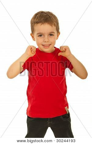 Child Boy Pointing To His T-shirt