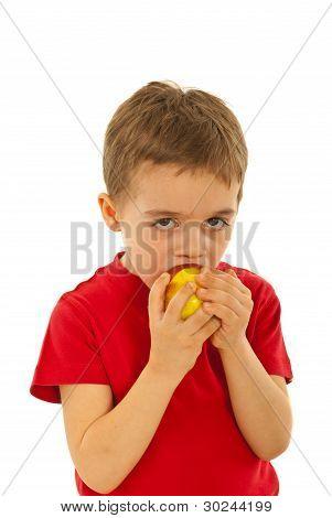 Child Boy Biting Apple