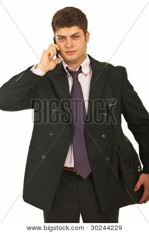 Young Business Man With Phone Mobile
