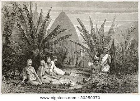 Tribal chief dwelling near Kanala, New Caledonia. Created by Moynet after photo by unknown author, published on Le Tour Du Monde, Paris, 1867