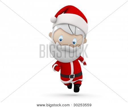 Santa in a hurry! Social 3D characters: Santa Claus in haste Christmas and New Year concept. New constantly growing collection of expressive unique multiuse people images. Isolated.