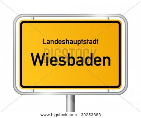 City limit sign WIESBADEN against white background - capital of the federal state Hesse - Hessen, Germany