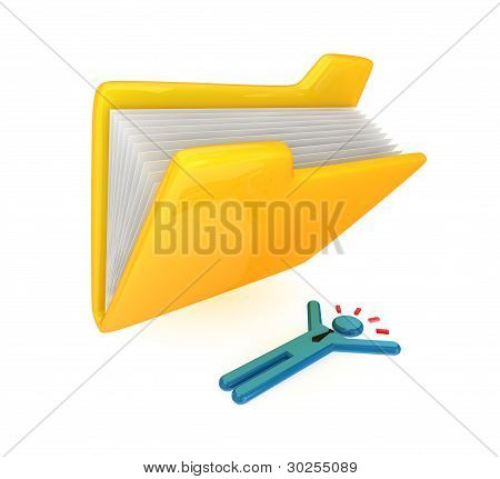 Big yellow folder and lying small person.