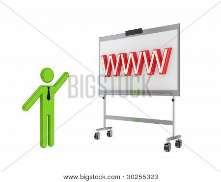 3d small person with a flipchart and big word WWW.