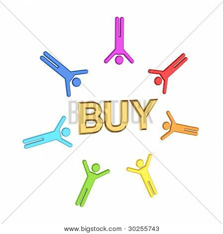 Colorful 3d small people and golden  word BUY