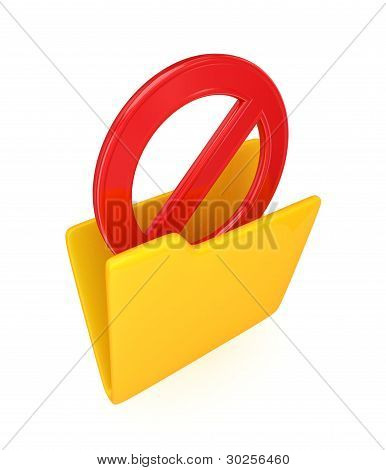 Red STOP sign in a yellow folder.