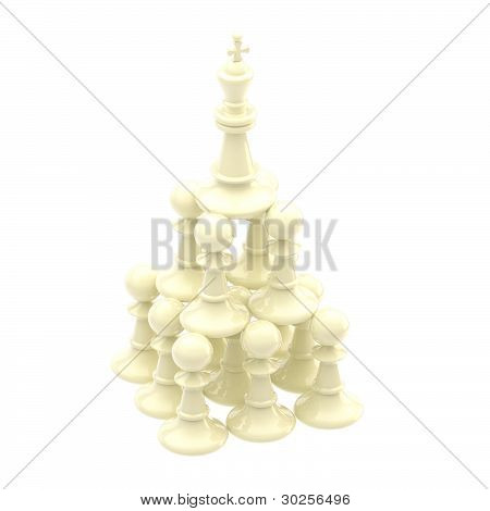 White king standing at the pyramid made of pawns