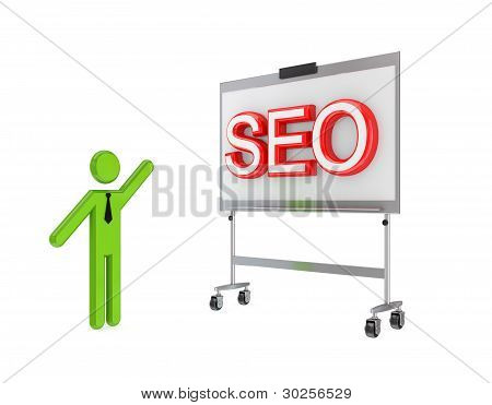 3d small person with a flipchart and big word SEO.
