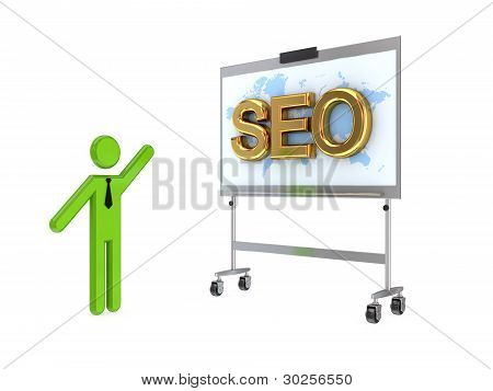 3d small person, flip chart and big word SEO.