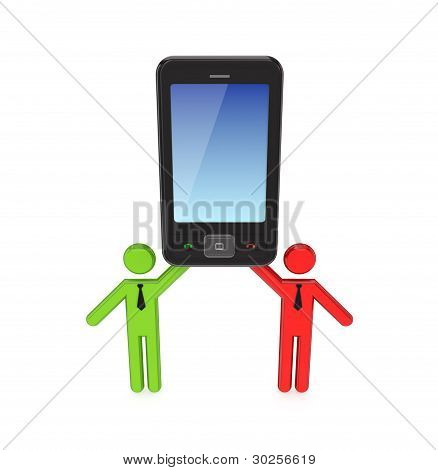 3d small people with a modern mobile phone.