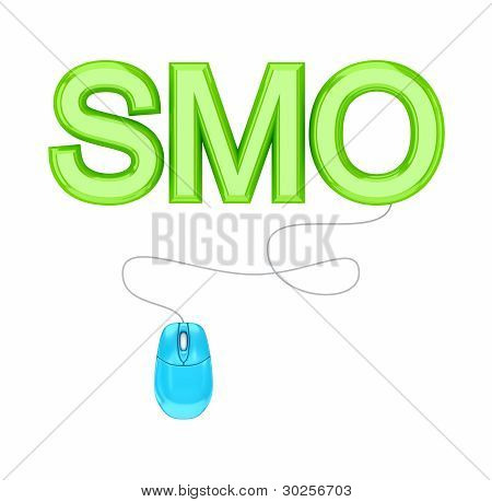PC mouse and green word SMO.