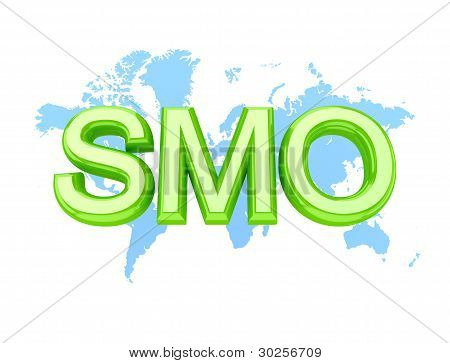 Green word SMO and world's map.