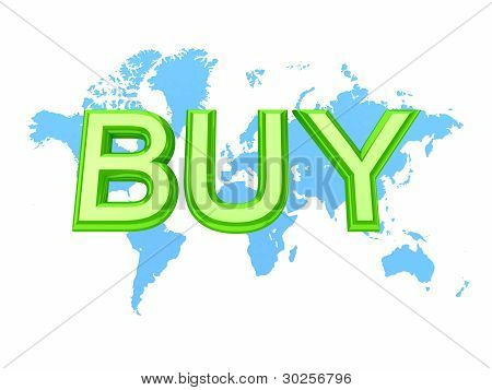 World's map and green word BUY.