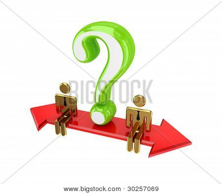 3d small people sitting on a double-sided arrow.