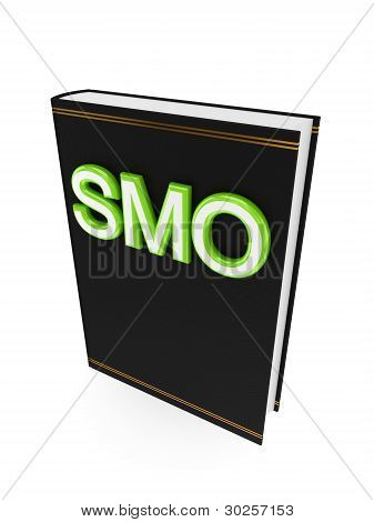 Black book with a green word SMO.