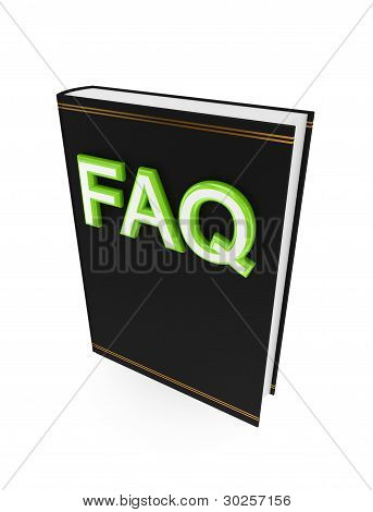 Black book with a green word FAQ.