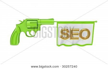 Green revolver shooting a golden word SEO.