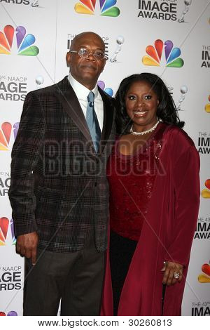 LOS ANGELES - FEB 17:  Samuel L. Jackson, LaTanya Richardson. arrives at the 43rd NAACP Image Awards at the Shrine Auditorium on February 17, 2012 in Los Angeles, CA.