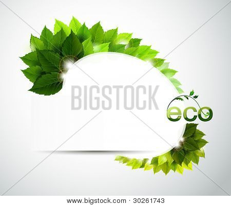 raster version of oval frame with fresh green leaves