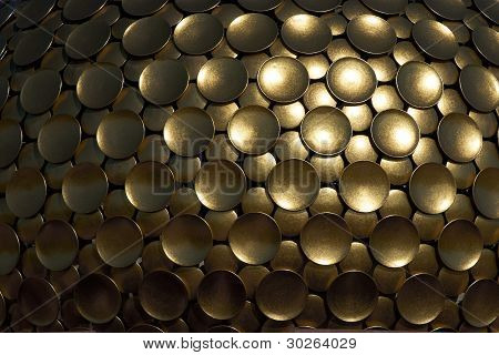 Background Of Golden Discs. Detail Of Temple Dome.