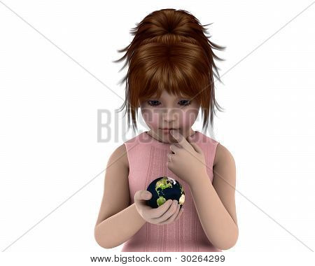 Girl Holding Planet Earth With A Concerned Expression On Her Face