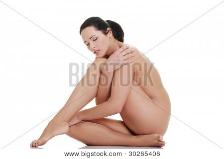 Artistic shot a beautiful naked woman , isolated on white background