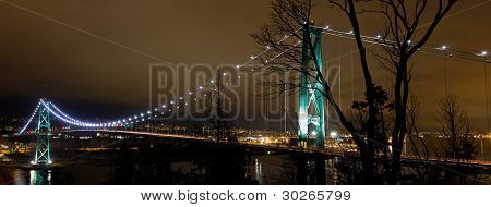 Lions Gate Bridge In Vancouver Bc At Night