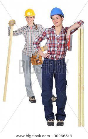 Two female carpenter