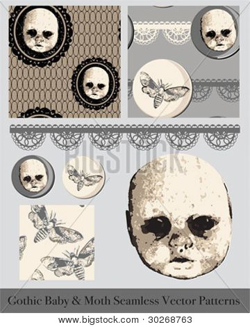 Gothic Creepy Baby Face and Moth Seamless Vector Patterns and Icons.  Great for Halloween but could look stunning on cushions or printed onto crockery.