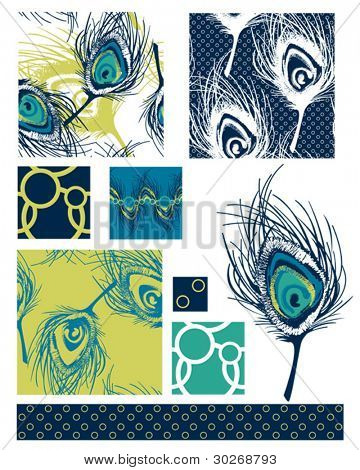 Modern Peacock Feather Seamless Repeat Vector Patterns.  Use to create patches for quilting or backgrounds for craft or textile fashion projects.