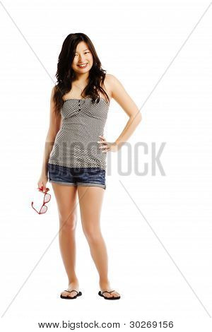 Asian Female Wearing Hot Pants Holding Sun Glasses