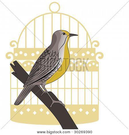 Meadowlark bird on perch with vintage stylized  birdcage