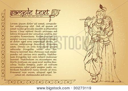 illustration of hindu goddess radha and lord Krishna on ancient paper