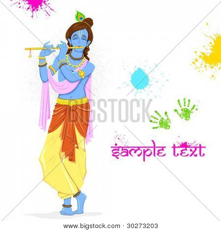 illustration of  Krishna playing holi with colors and pichkari