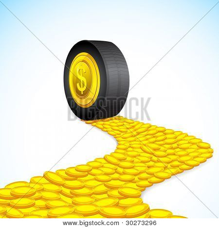 illustration of road of coin with tyre on it