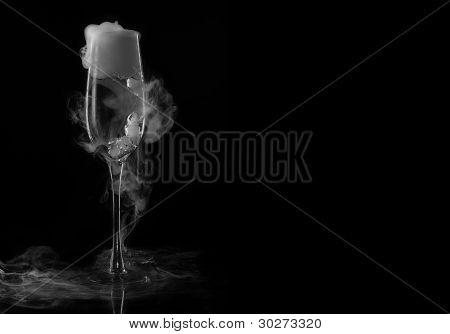 glass with dry ice