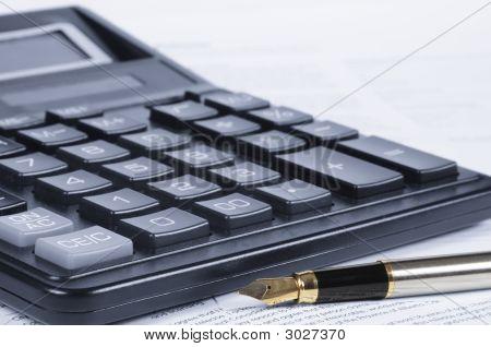 Calculator, Pen, Papers