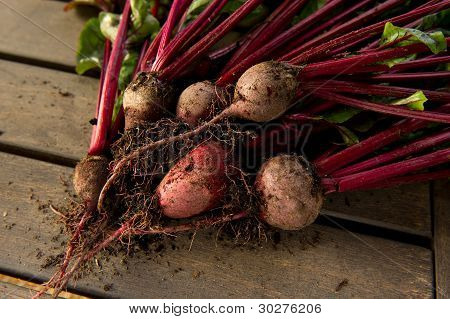 Beets On A Wood Background