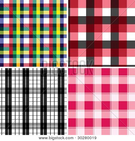 Collection of seamless checked cotton pattern
