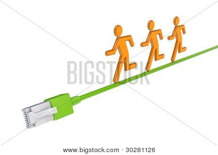 Colorful 3d small people running on a patchcord.