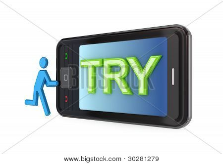 Modern mobile phone with big word TRY.