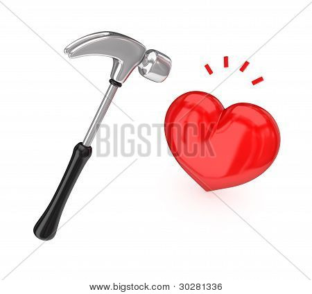 Big chromed hammer hitting a red heart.