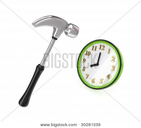 Big chromed hammer hitting a green watch.